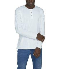 camiseta blanca luck & load cuello tres botones manga larga