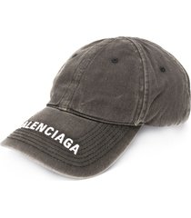balenciaga embroidered logo denim cap - black