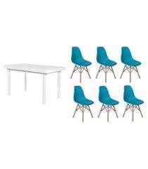 kit mesa de jantar frança 160x80 branca + 06 cadeiras charles eames - turquesa