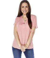 blusa detalle cuello palo rosa mujer corona