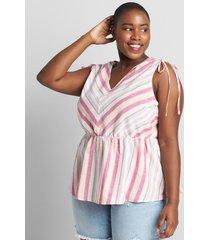 lane bryant women's striped tie-shoulder top 26/28p multi dock stripe