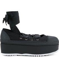 marni criss cross tie ballerina platforms - black
