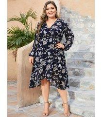 yoins plus talla azul marino estampado floral aleatorio mangas largas vestido