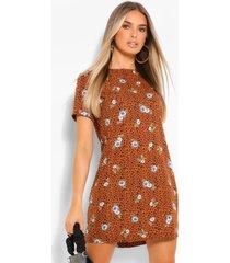 luipaard- en bloemenprint jurk, geelbruin