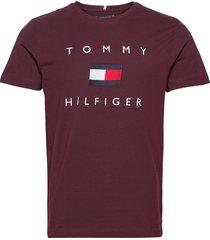 tommy flag hilfiger tee t-shirts short-sleeved röd tommy hilfiger