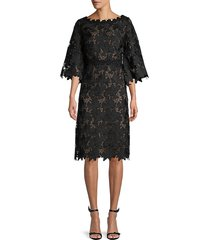 st. john women's floral lace a-line dress - caviar - size 2