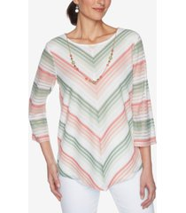 alfred dunner petite springtime in paris chevron striped top & detachable necklace