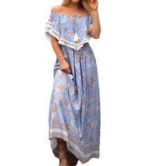 maxi vestiti blu pieghettati floreali della stampa con frange della stampa con frange della boemia