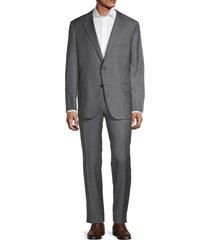hickey freeman men's milburn iim series regular-fit striped wool suit - grey - size 46 r