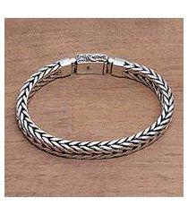 sterling silver chain bracelet, 'shining naga' (indonesia)