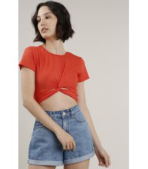blusa feminina cropped canelada com nó manga curta decote redondo laranja