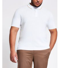 river island mens big and tall ecru weaved slim fit polo shirt