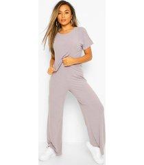 petite zachte geribbelde t-shirt & wide leg broek set, grijs