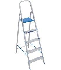 escada doméstica com 5 degraus em alumínio prata e azul