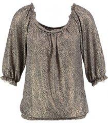amélie & amélie kort shiny polyester stretch shirt 3/4 mouw
