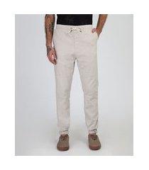 calça de sarja masculina jogger com recortes kaki