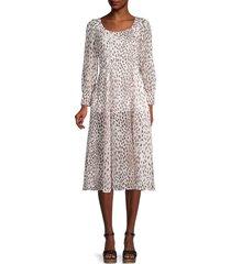 70/21 women's leopard-print slit dress - white - size xs