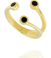 anel dona diva semi joias três zircônias dourado