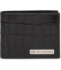 croc-embossed plate card wallet black