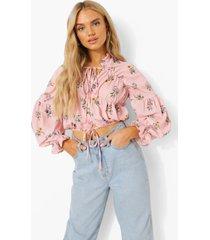 geplooide chiffon bloemenprint blouse, rose