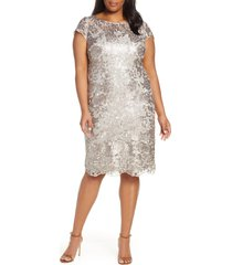 plus size women's alex evenings sequin embroidered cocktail dress