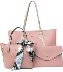 bolso de mano setx3 cargadera en contraste rosado