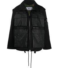 diesel convertible utility jacket - black