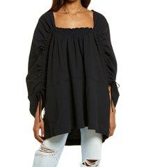 women's free people brynn jacquard cotton tunic top, size medium - black