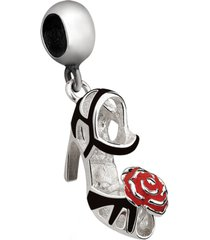 berloque joia em casa sapato preto com flor prata