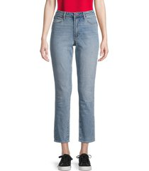 articles of society women's rene high-rise straight cropped jeans - blue - size 28 (4-6)