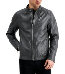 calvin klein men's faux leather moto jacket, created for macy's