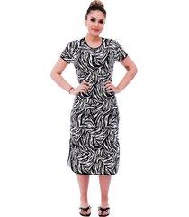 camisola ficalinda midi manga curta 3 em 1 com estampa animal print de zebra e viés preto. - kanui
