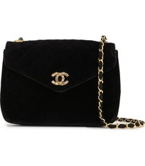 chanel pre-owned 1985-1993 diamond quilted chain shoulder bag - black