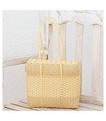 recycled plastic shoulder bag, 'cornsilk picnic' (guatemala)