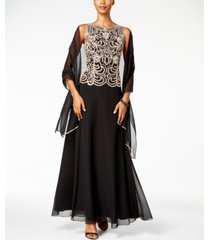 j kara beaded a-line gown and scarf