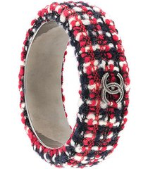 chanel pre-owned cc tweed bangle bracelet - black