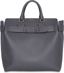 burberry large belted tote - grey