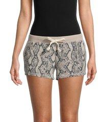 sweet romeo women's snakeskin-print shorts - tonal star - size l