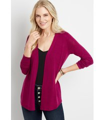 maurices womens solid pointelle back open front cardigan purple
