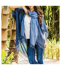 cotton kimono jacket and scarf set, 'midnight blue mystique' (thailand)