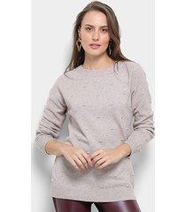 suéter tricot facinelli bolinha feminino