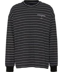 fundamental slogan print stripe sweatshirt