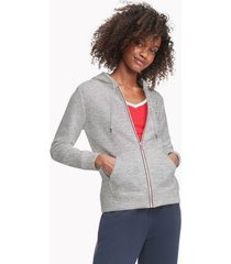 tommy hilfiger women's essential flag hoodie grey heather - s
