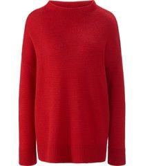 trui van 100% kasjmier met staande halsboord van include rood