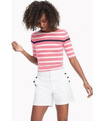 tommy hilfiger women's essential favorite boatneck t-shirt pink / white stripe - xxs