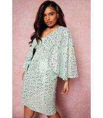 plus gelegenheids midi jurk met pailletten en kimono mouwen, pale green