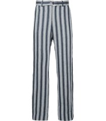 cerruti 1881 striped d-ring belted trousers - blue