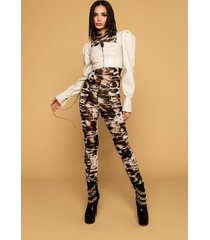 akira chain of love animal print mesh jumpsuit