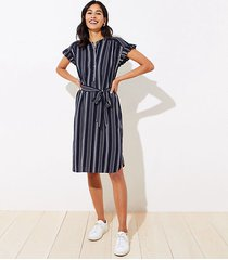 loft petite striped ruffle tie waist shirtdress