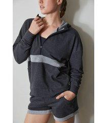 natori chi half zip hoodie coat, women's, cotton, size xs